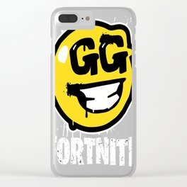 Fortnite Battle Royale GG Good Game Graffiti Spray Smiley Face Shirt Clear iPhone Case