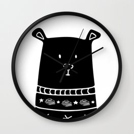 Book Doodles Bear Wall Clock