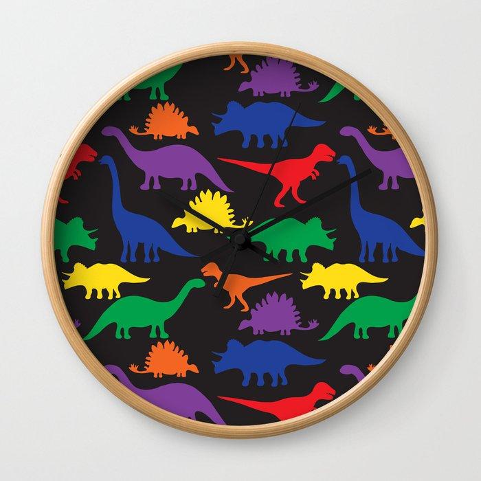 Dinosaurs - Black Wall Clock