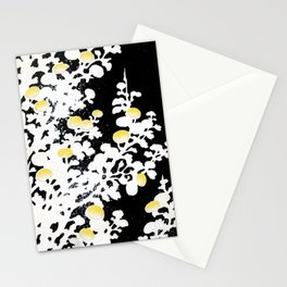 White Yellow Flowers on Black Background Stationery Cards