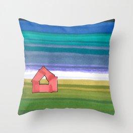 American Farm Landscape Blue Stripes 82 Throw Pillow