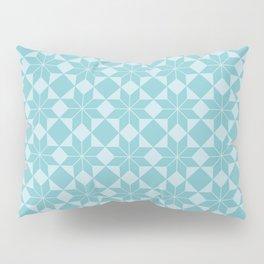 8 Point Star Pattern (Duck Egg Blue on Pale Blue) Pillow Sham