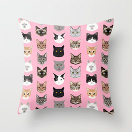 Cute Cat breed faces smiling kitten must have gifts for cat lady cat man cat lover unique pets Throw Pillow