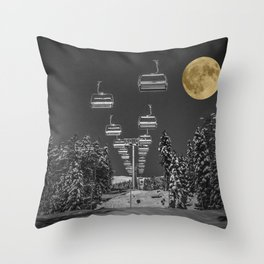 Chair Lift to the Moon Throw Pillow