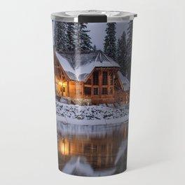 Cabin in Winter Woods (Color) Travel Mug
