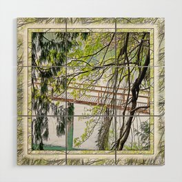 RAINY SPRING DAY AT THE DOCK IN THE WOODS Wood Wall Art