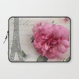 Paris Pink Rose Eiffel Tower Typography Shabby Chic Cottage Decor Laptop Sleeve