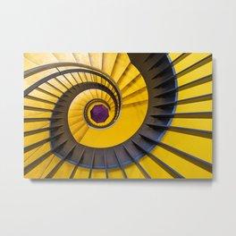 Yellow spiral staircase and purple umbrella! Metal Print