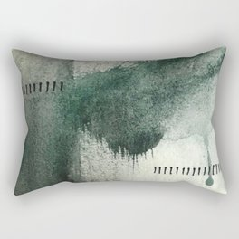 Last Kiss: a minimal, abstract watercolor piece in greens Rectangular Pillow
