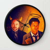crowley Wall Clocks featuring Good & Bad - Supernatural - Castiel Crowley by KanaHyde
