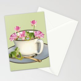 Cup with Lotos Flowers and two Frogs Stationery Cards