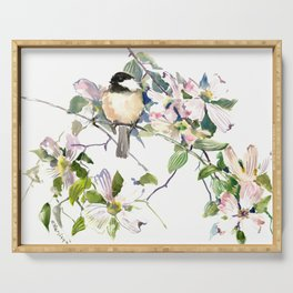Chickadee and Dogwood Flowers Serving Tray