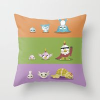 digimon Throw Pillows featuring Hey Digimon, hey Digimon!  by Sindorman