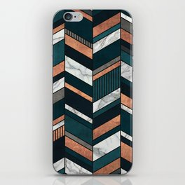 Abstract Chevron Pattern - Copper, Marble, and Blue Concrete iPhone Skin
