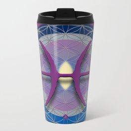 Flower of Life PISCES Astrology Design Metal Travel Mug