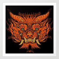 foo fighters Art Prints featuring Foo Dog by missmonster