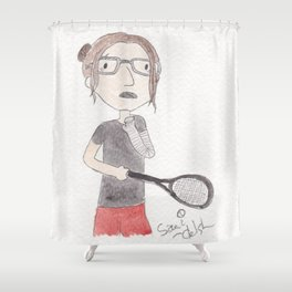 Attempting To Play Squash Shower Curtain