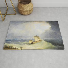 A Deal Lugger Going Off To Storm Bound Ships In The Downs - Thomas Buttersworth Rug