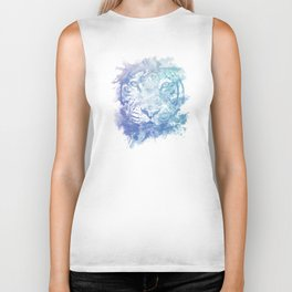 Abstract Watercolor Tiger Portrait / Face Biker Tank