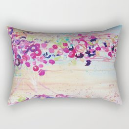 DANCE OF THE SAKURA - Lovely Floral Abstract Japanese Cherry Blossoms Painting, Feminine Peach Blue  Rectangular Pillow