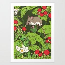 Mouse & Thimbleberry Art Print