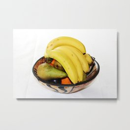 Fruit in a Wooden Bowl, Banana, orange, Pear, Plum Metal Print