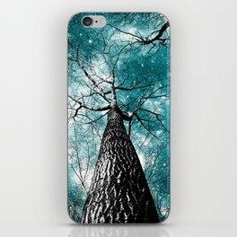 Wintry Trees Galaxy Skies Teal iPhone Skin