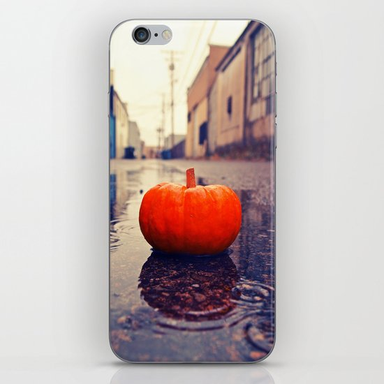 Rainy day pumpkin iPhone & iPod Skin
