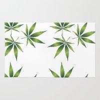 marijuana Area & Throw Rugs featuring Marijuana Leaves  by Limitless Design