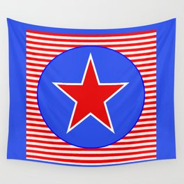 Patriotic Star in with Blue Wall Tapestry