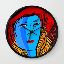 Christmas Blue Pop Girl with Red Hat Wall Clock
