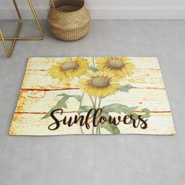 Country Sunflowers on wood Rug
