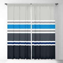 PreppyPatterns™ - Urban Multi-stripe - platinum, silver, gunmetal, azure blue, black, indigo Blackout Curtain