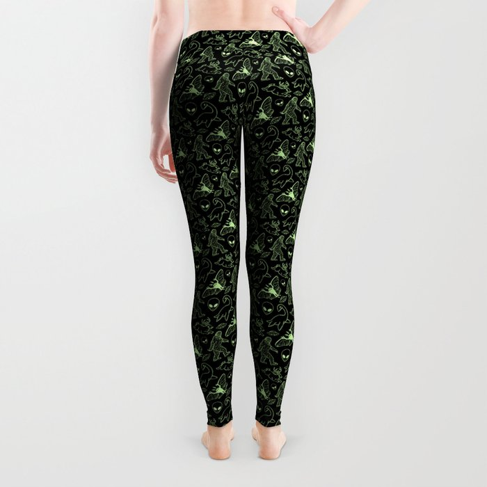 Cryptid Pattern: Green Lines Leggings