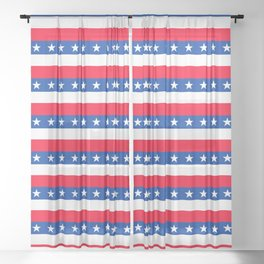 Red White Blue Stars Stripes Patriotic Sheer Curtain