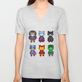 teddy collection of heroes Unisex V-Neck