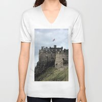 edinburgh V-neck T-shirts featuring Edinburgh Castle by RMK Creative