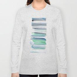 Frozen Summer Series 156   Watercolor Simple Pattern Blue Shades Vertical Long Sleeve T-shirt