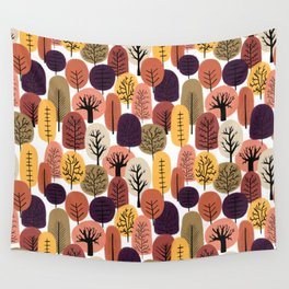 Autumn Trees Pattern Wall Tapestry