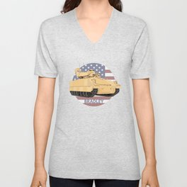 Bradley Fighting Vehicle with American Flag Unisex V-Neck