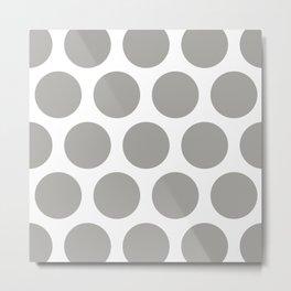 Large Polka Dots: Grey Metal Print