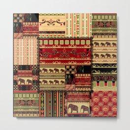 African motifs . Patchwork Metal Print