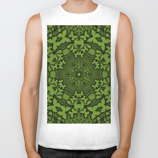 Butterfly kaleidoscope in green Biker Tank