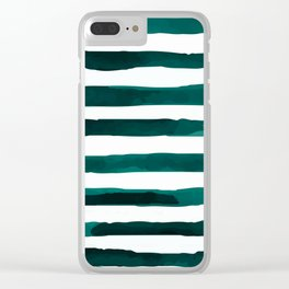Watercolor Stripes (Emerald Green) Clear iPhone Case
