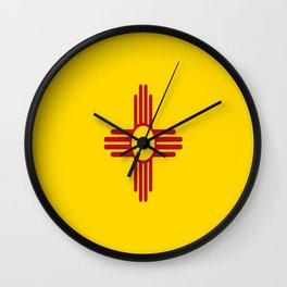 flag new mexico-usa,america,sun,Zia Sun symbol,New Mexican,Albuquerque,Las Cruces,santa fe,roswell Wall Clock