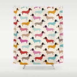 Sweet retro dachshund doxie puppy pattern Shower Curtain