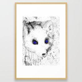 black and white : polar fox Framed Art Print
