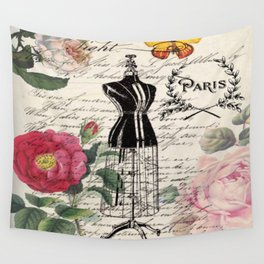 french country rose floral modern vintage dress mannequin paris fashion Wall Tapestry