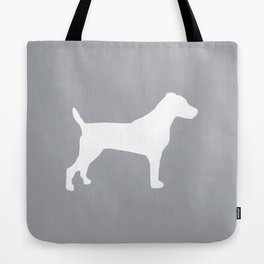 Jack Russell Terrier gray and white minimal dog pattern dog silhouette Tote Bag