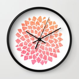Coral Sea Glass Dahlia Wall Clock